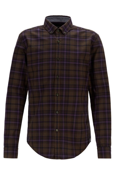 Slim-fit shirt with plain check in Oxford cotton, Open Green