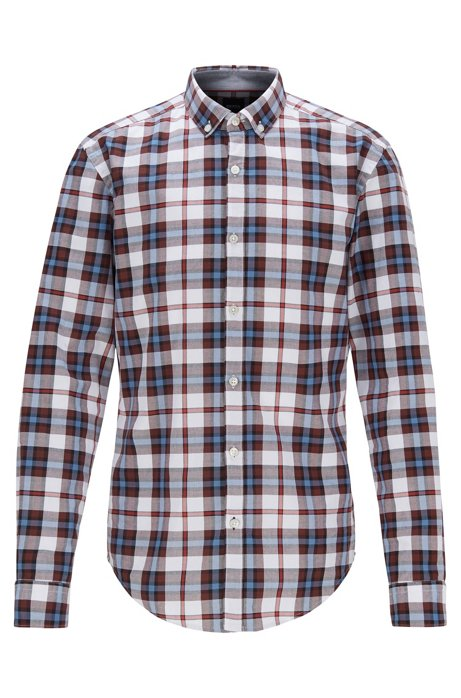 Slim-fit shirt with plain check in Oxford cotton, Dark Red