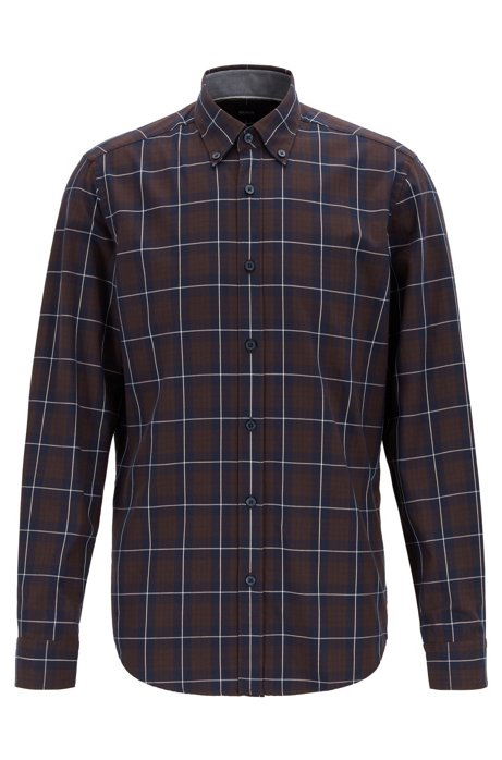 Button-down regular-fit shirt in checked cotton twill, Dark Brown