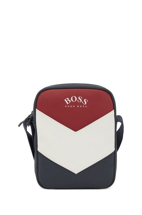 Colour-block reporter bag in rubberised faux leather, Dark Blue