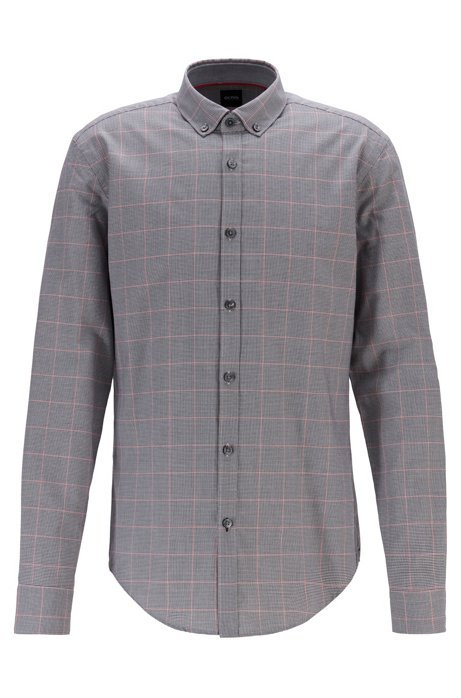 Button-down slim-fit shirt in exclusive check, Black