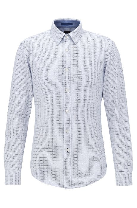 Slim-fit shirt in printed cotton piqué, Blue