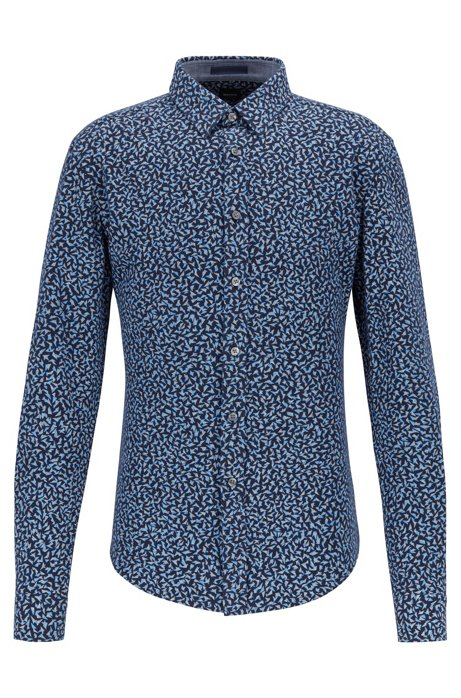 Slim-fit shirt in printed cotton piqué, Dark Blue