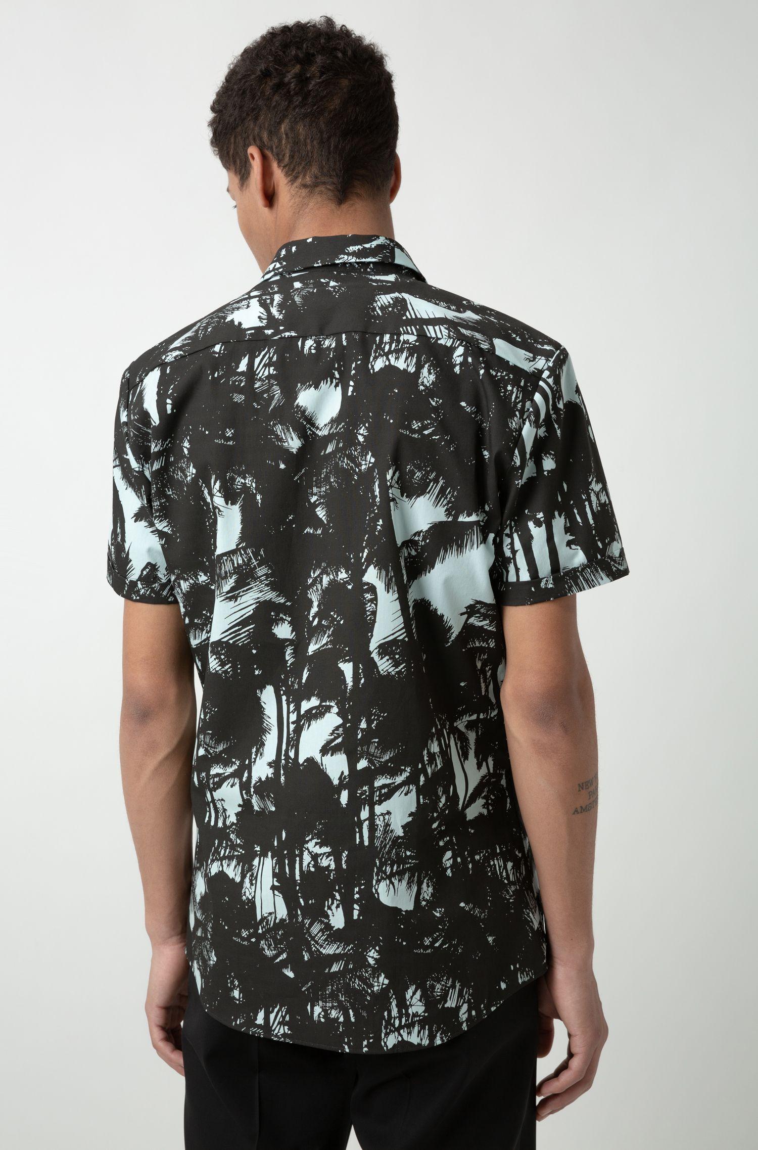 Camicia a maniche corte extra slim fit in cotone stampato, A disegni