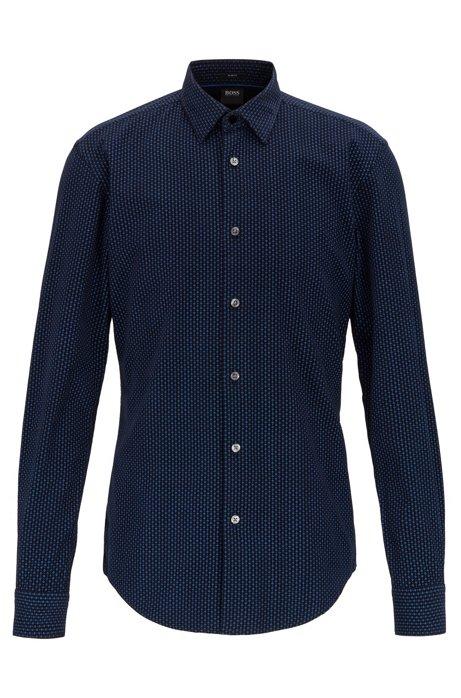 Slim-fit overhemd in fijn corduroy met dessin, Donkerblauw