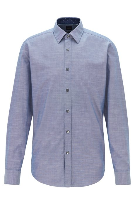 Stretch-cotton regular-fit shirt with printed inner trims, Dark Blue