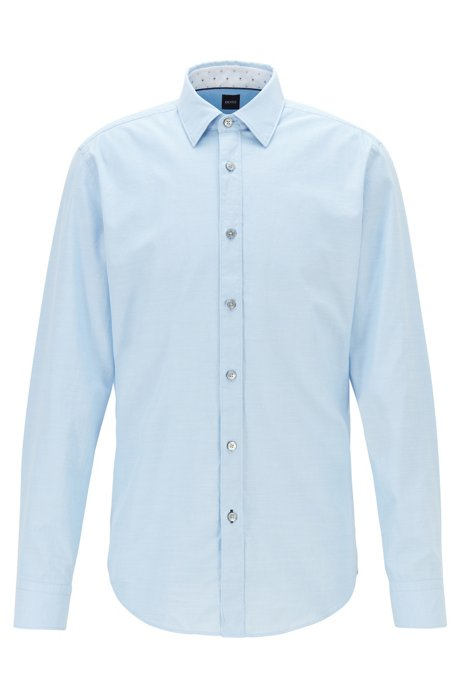 Stretch-cotton regular-fit shirt with printed inner trims, Light Blue