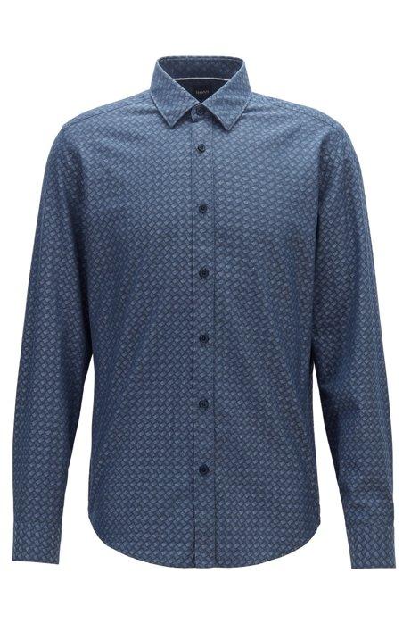 Regular-fit, gedessineerd overhemd van katoenen jacquard in denimlook, Donkerblauw