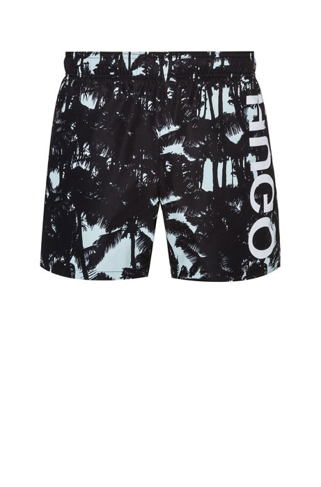 Quick-dry printed swim shorts with reversed logo, Patterned