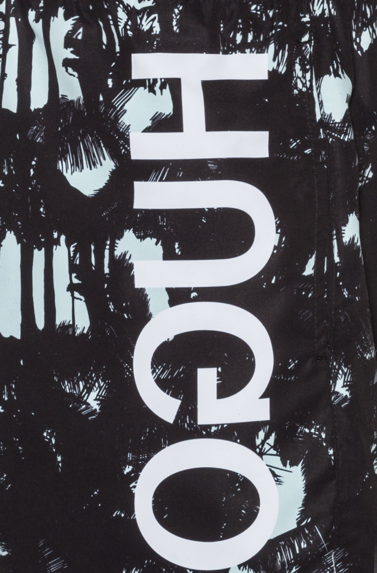 Sneldrogende zwemshort met print en gespiegeld logo, Bedrukt