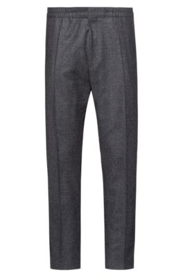 Extra-slim-fit trousers in houndstooth wool, Anthracite