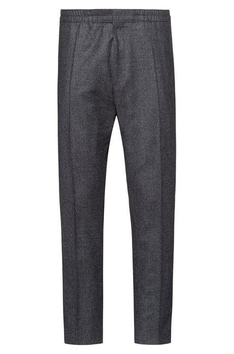 Extra Slim-Fit Hose aus Schurwolle mit Hahnentritt-Muster, Anthrazit