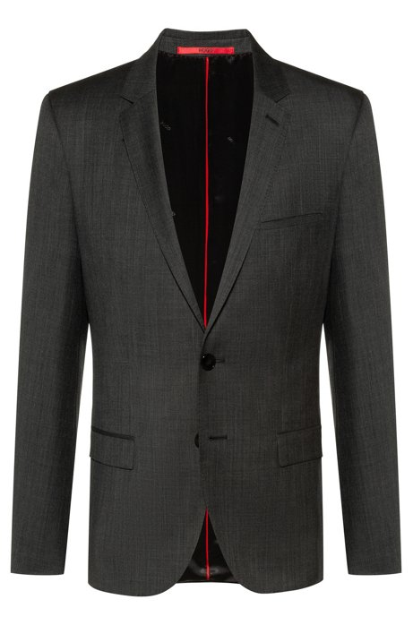Extra-slim-fit virgin-wool jacket with micro pattern, Anthracite