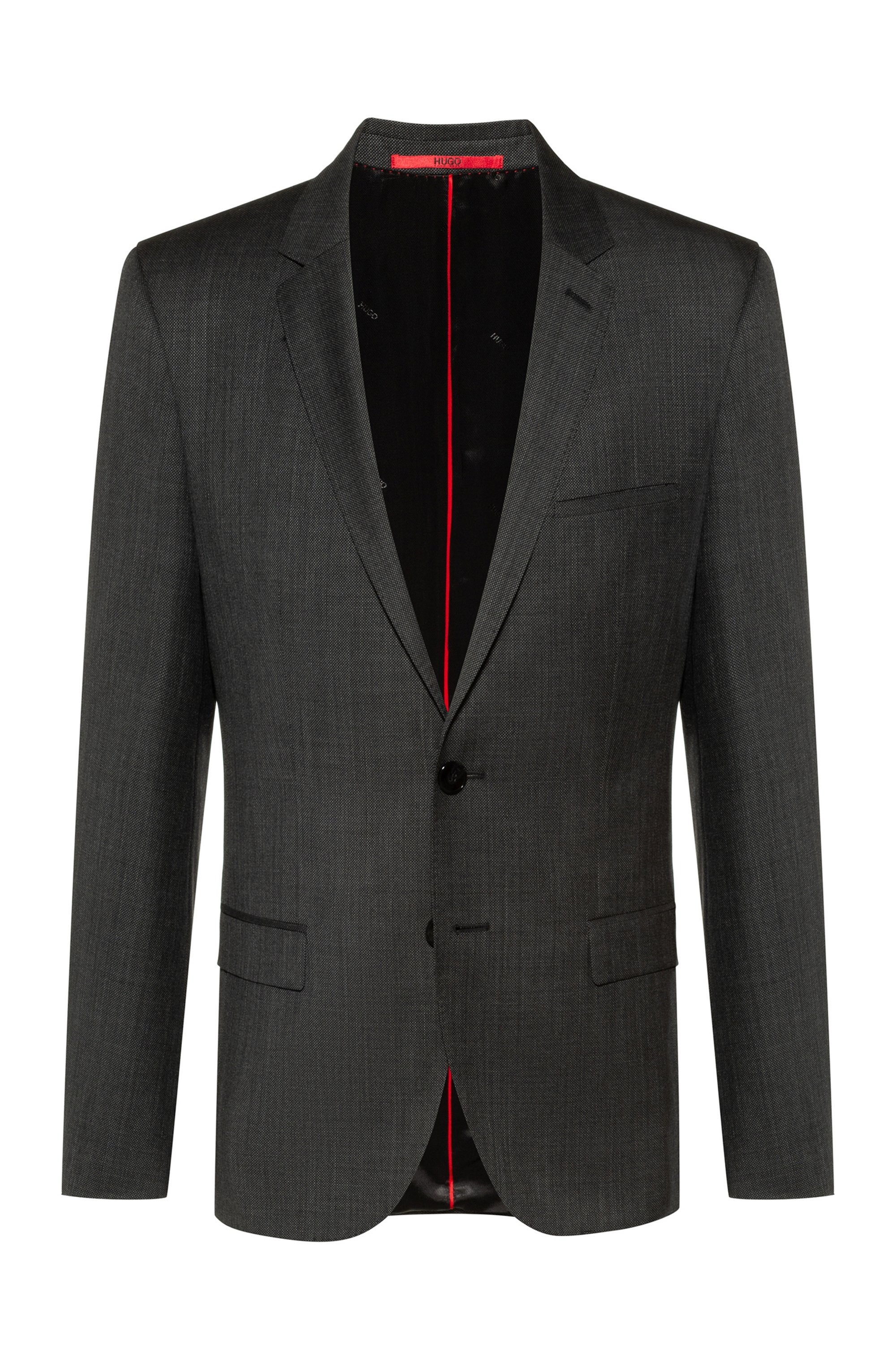 Extra-slim-fit jacket in micro-patterned virgin wool, Dark Grey