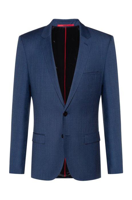 Extra-slim-fit jacket in micro-patterned virgin wool, Dark Blue