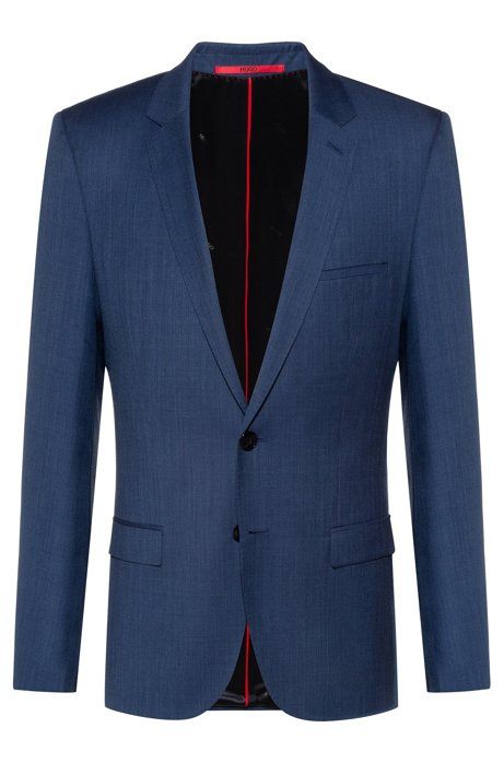 Extra-slim-fit virgin-wool jacket with micro pattern, Dark Blue