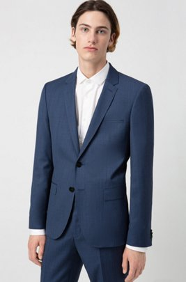 Extra-slim-fit jacket in micro-patterned virgin wool, Dark Blue