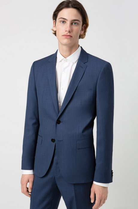 Giacca extra slim fit in lana vergine con micromotivo, Blu scuro