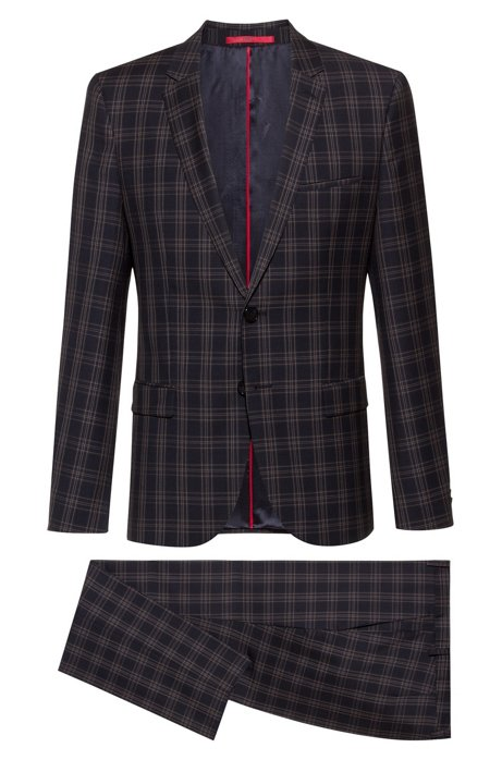 Extra-slim-fit suit in checked virgin wool, Patterned