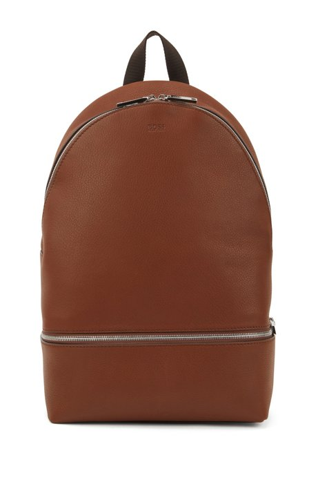 Backpack in grained Italian leather with interior organiser, Light Brown