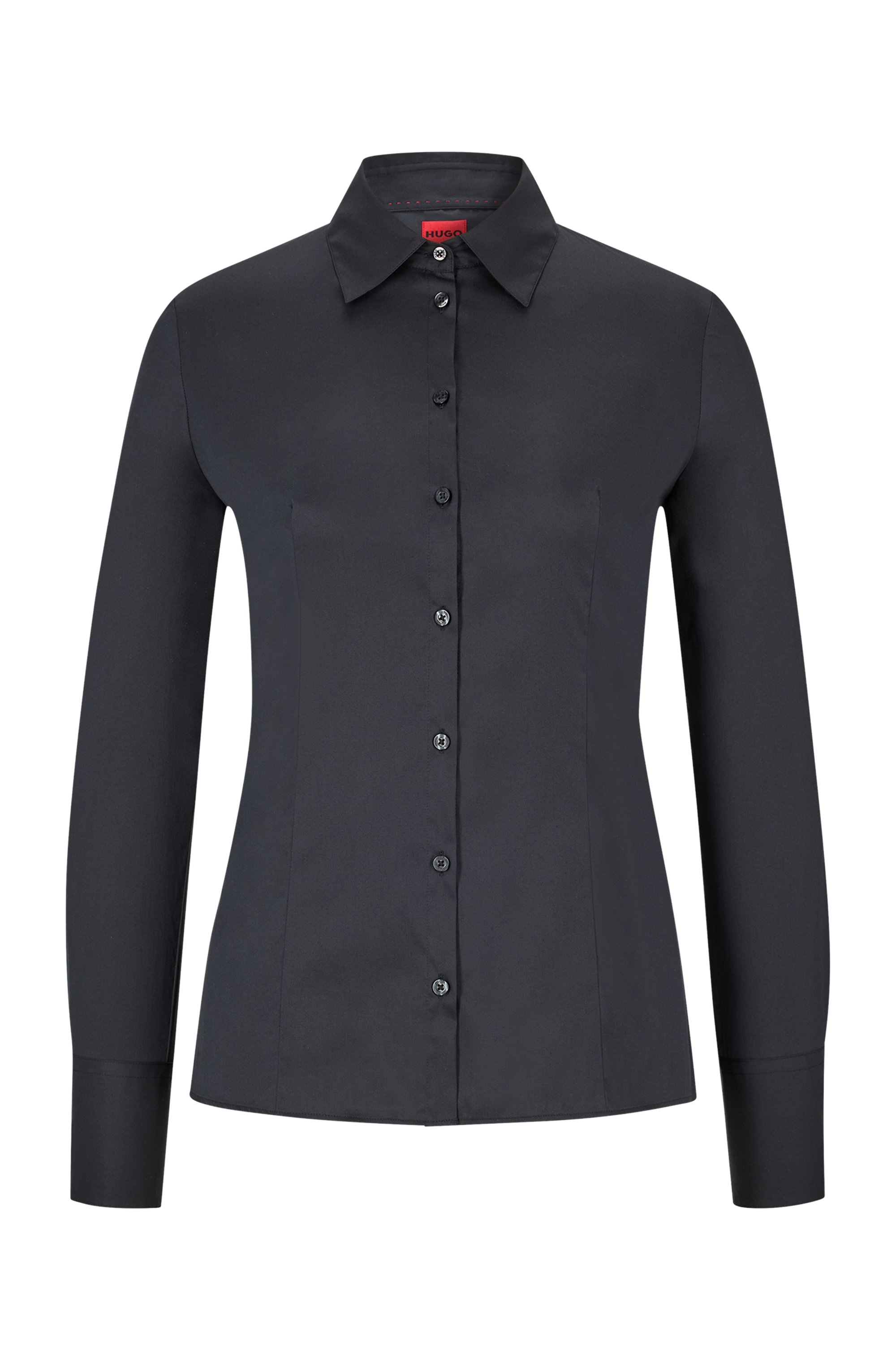 Slim-fit blouse in easy-iron poplin, Black