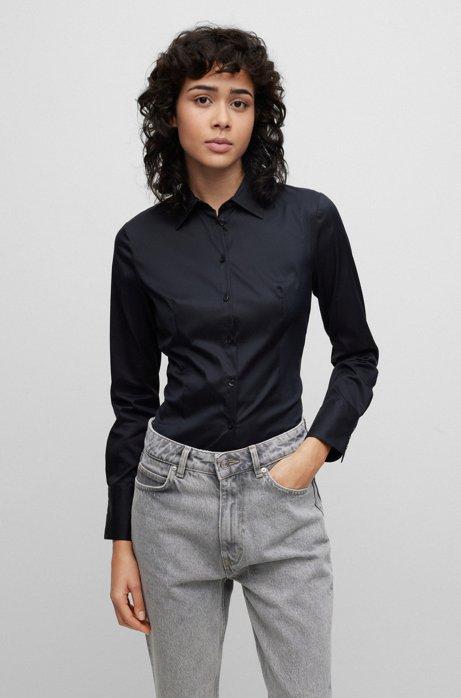 Slim-Fit Bluse aus bügelleichter Popeline, Schwarz