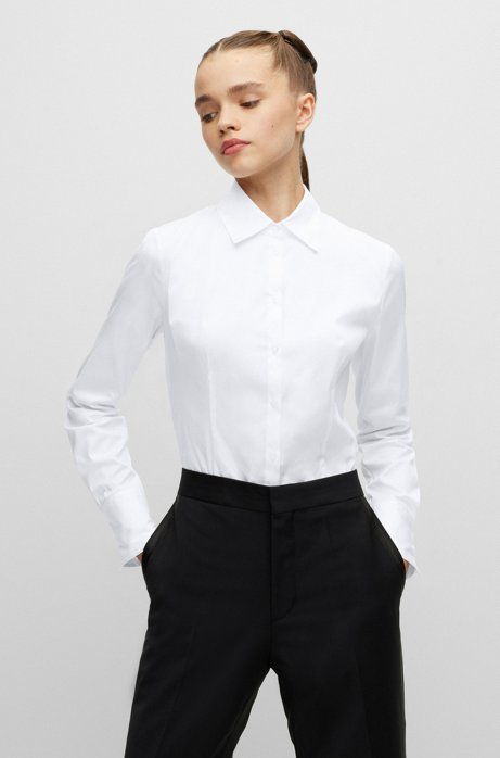 Slim-fit blouse in easy-iron poplin, White
