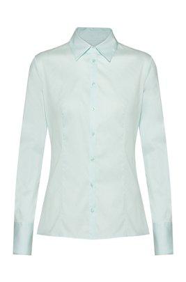 Slim-Fit Bluse aus bügelleichter Popeline, Hellgrün