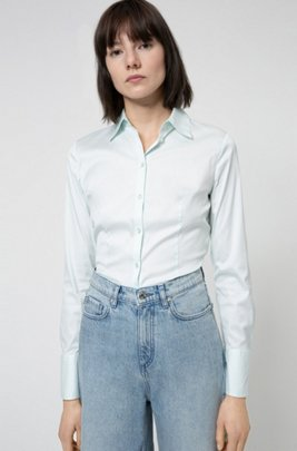 Slim-fit blouse in easy-iron poplin, Light Green