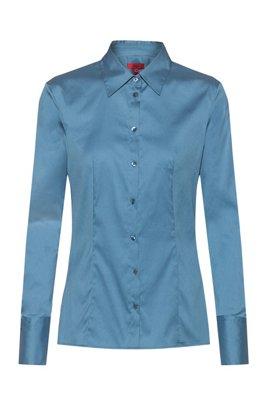 Blusa slim fit en popelín de planchado fácil, Azul oscuro