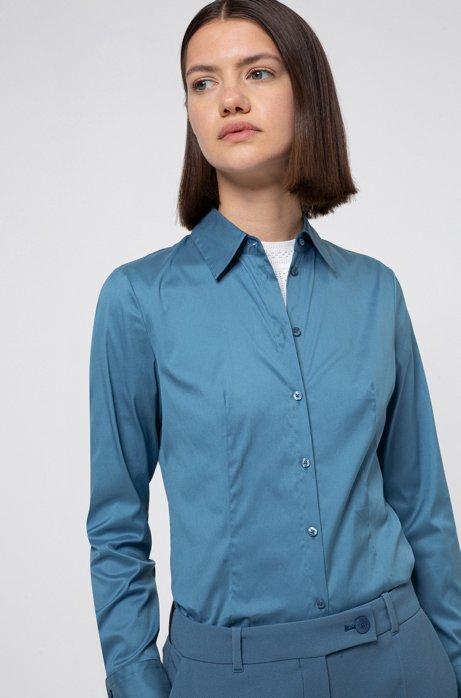 Camicetta slim fit in popeline facile da stirare, Blu scuro