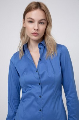 Slim-fit blouse in easy-iron poplin, Blue