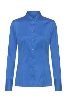 Slim-fit blouse in easy-iron poplin, Blue