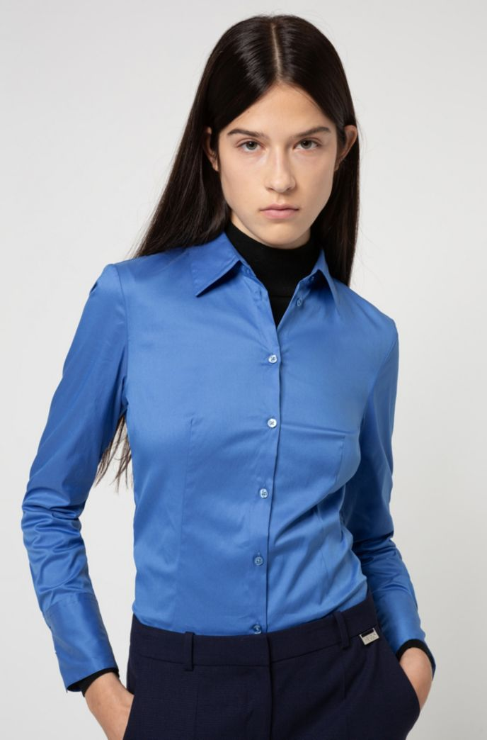 Slim-fit blouse in easy-iron poplin