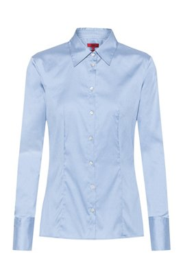 Slim-fit blouse in easy-iron poplin, Light Blue