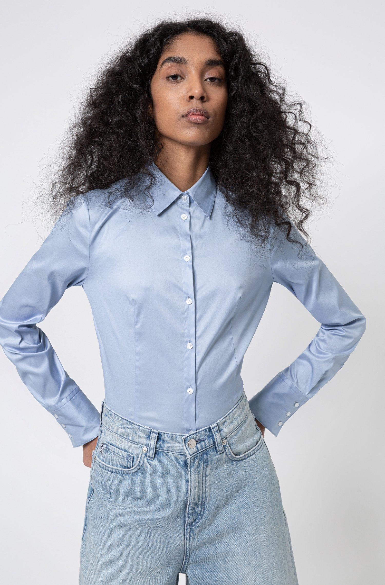 Slim-fit blouse in easy-iron poplin, Light Blue