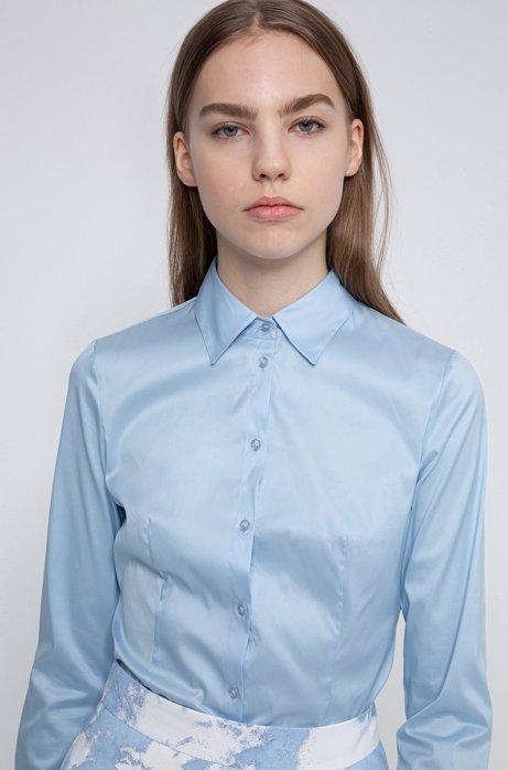 Slim-fit blouse van gemakkelijk te strijken popeline, Lichtblauw