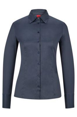Slim-Fit Bluse aus bügelleichter Popeline, Dunkelblau