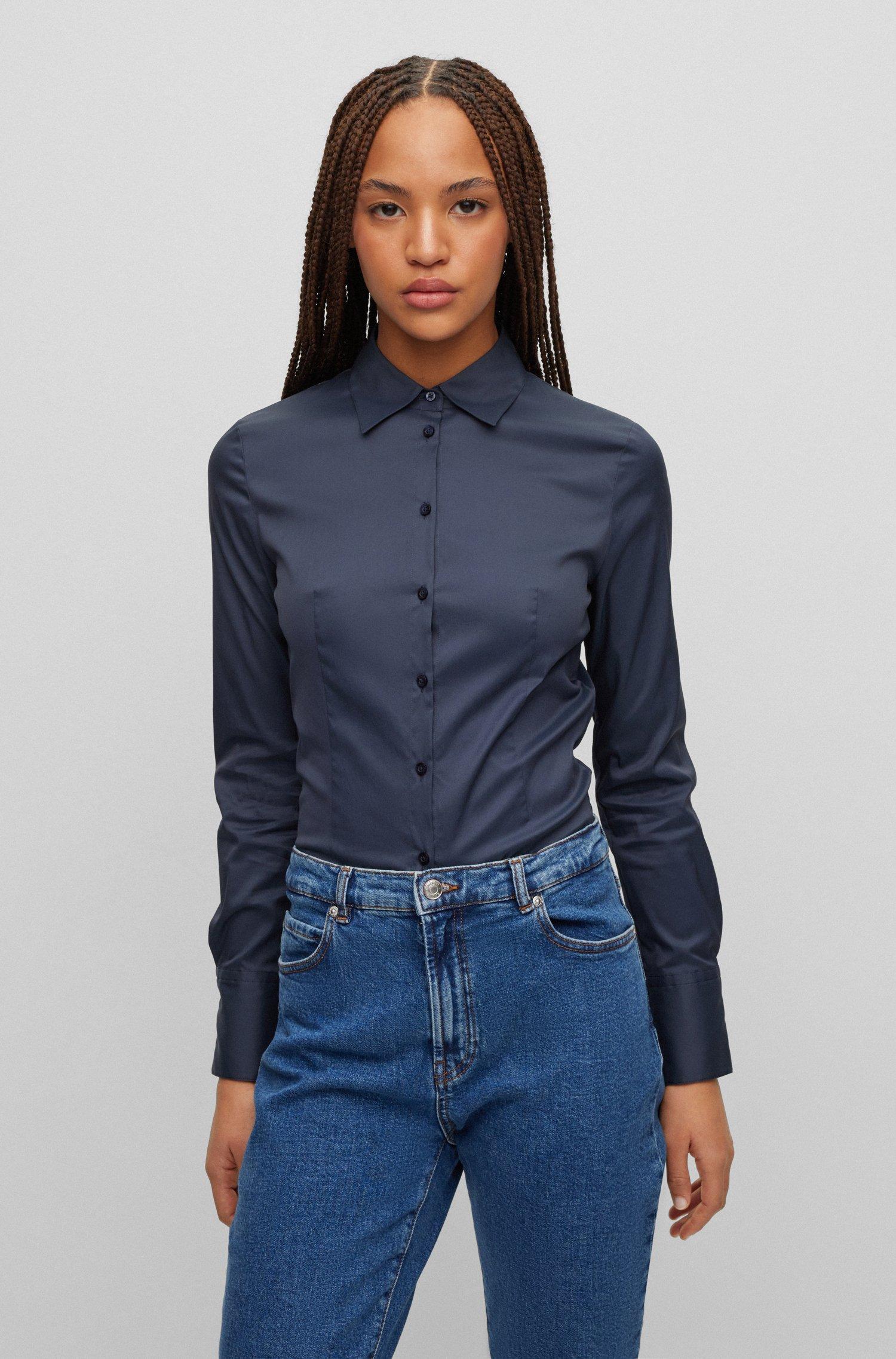 Slim-fit blouse in easy-iron poplin, Dark Blue