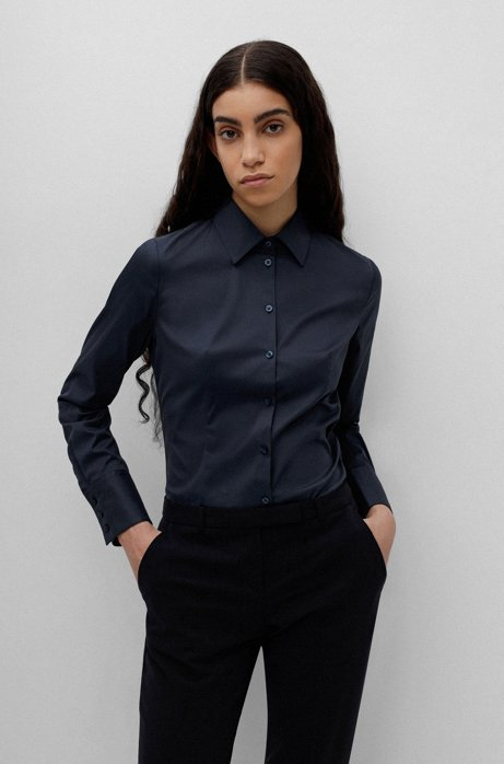 Slim-fit blouse in easy-iron poplin, Dark Blue