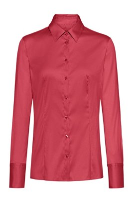 Slim-fit blouse in easy-iron poplin, Red