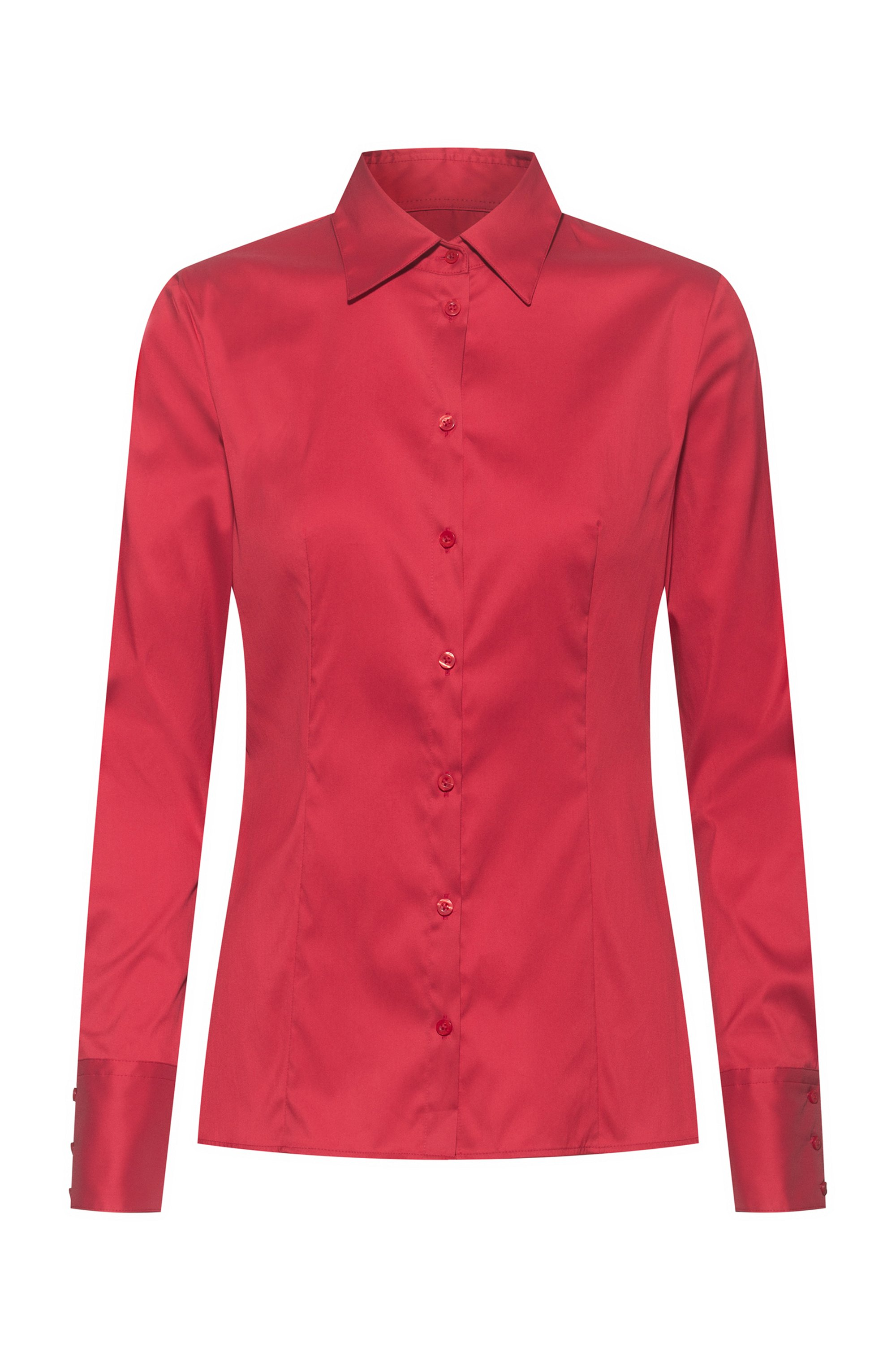Slim-fit blouse in easy-iron poplin, Red
