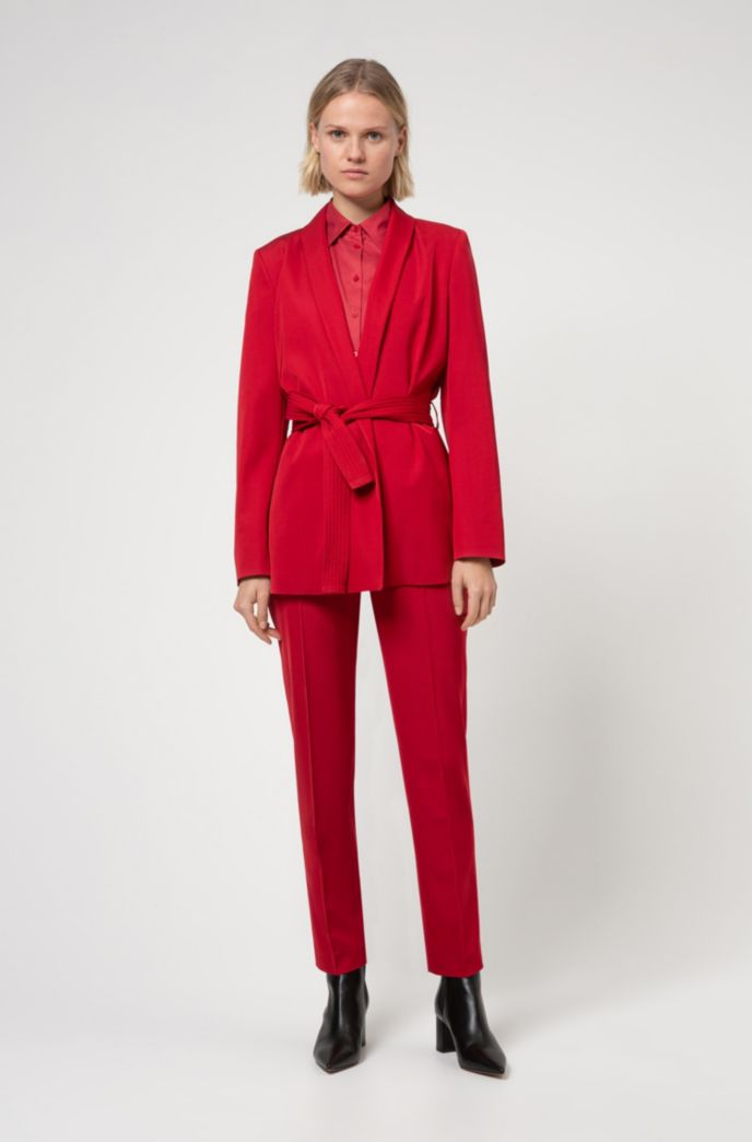 Slim-fit blouse in easy-iron poplin
