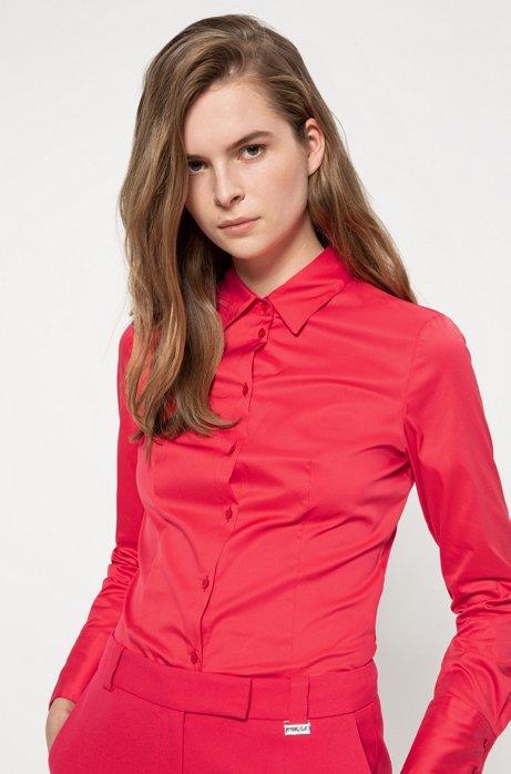 Slim-Fit Bluse aus bügelleichter Popeline, Rot