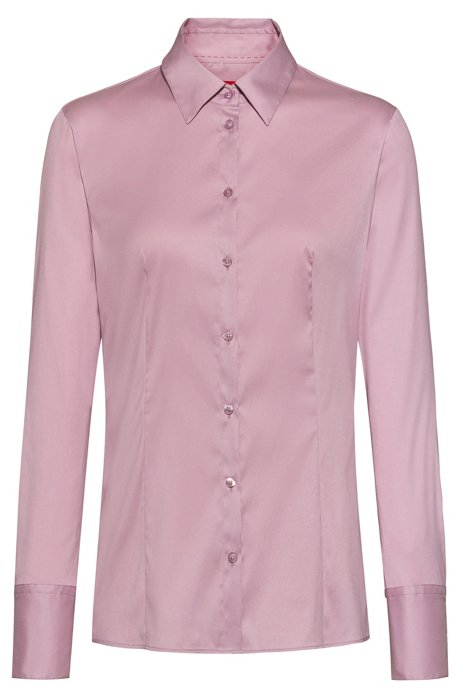 Slim-fit blouse in easy-iron poplin, Dark pink