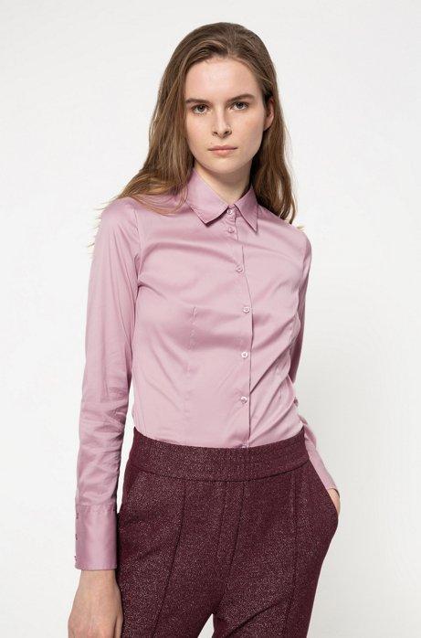 Slim-Fit Bluse aus bügelleichter Popeline, Dunkelrosa