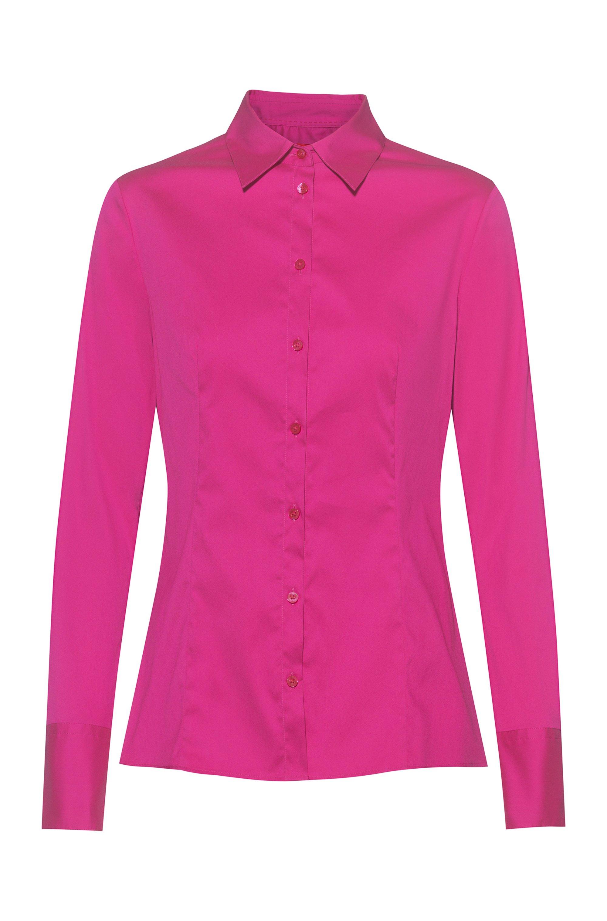 Slim-fit blouse van gemakkelijk te strijken popeline, Pink