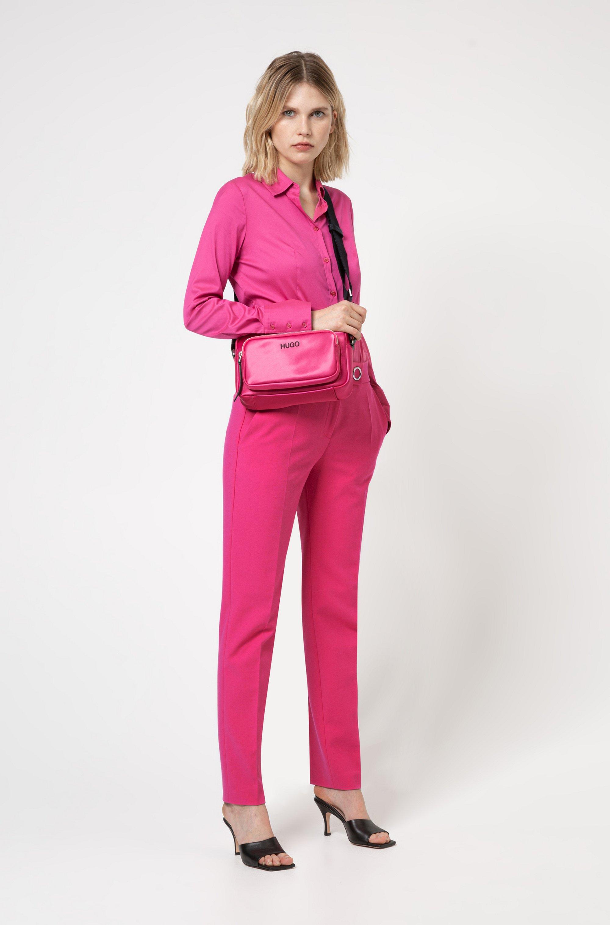 Slim-fit blouse van gemakkelijk te strijken popeline
