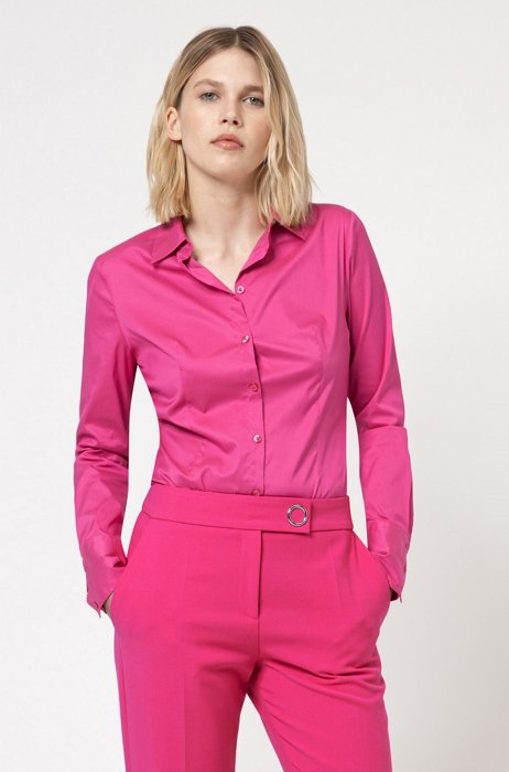 Slim-fit blouse in easy-iron poplin, Pink
