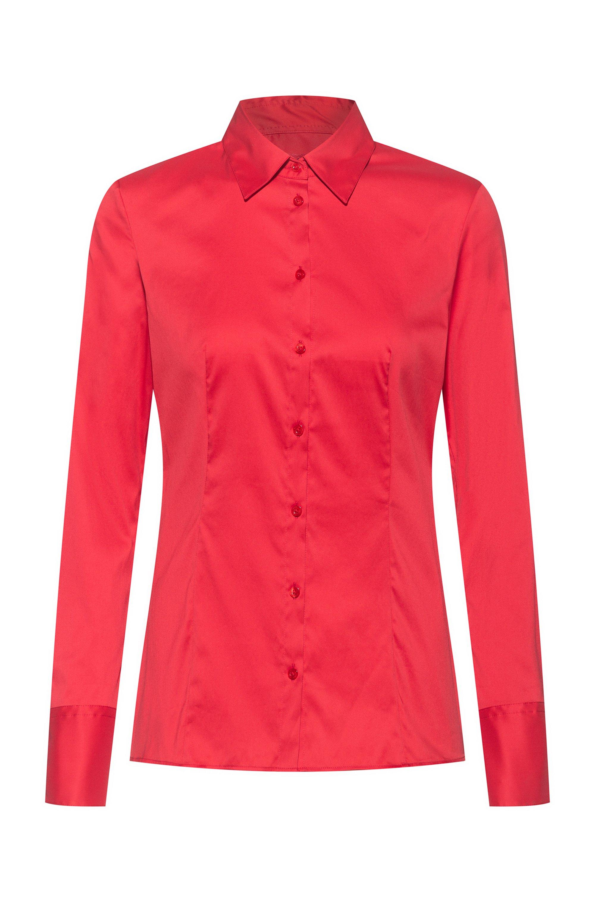Slim-fit blouse van gemakkelijk te strijken popeline, Rood